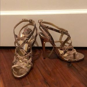 Snakeskin Gold Accent Jimmy Choos